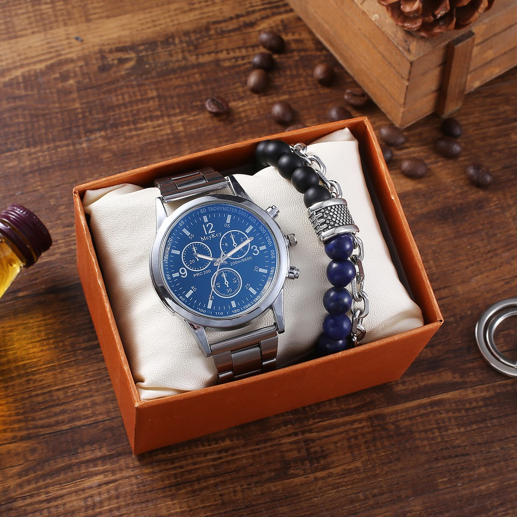 Men Watches Steel Band Quartz Wrist Watch With Bracelet Gift Set For Boyfriend For Dad Valentine S Day Father S Day Gift Birthday Gift Men S Gift Ss101107 Shopee Philippines