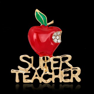 0fd5106f438 Exquisite Enamel Rhinestone Fashion Wedding Super Teacher Red Brooch Apple  | Shopee Philippines