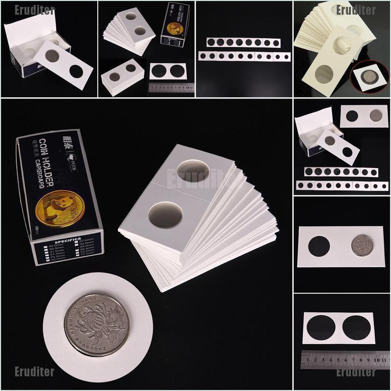 50PCS//Box White Cardboard 2x2 Mylar Coin Holders