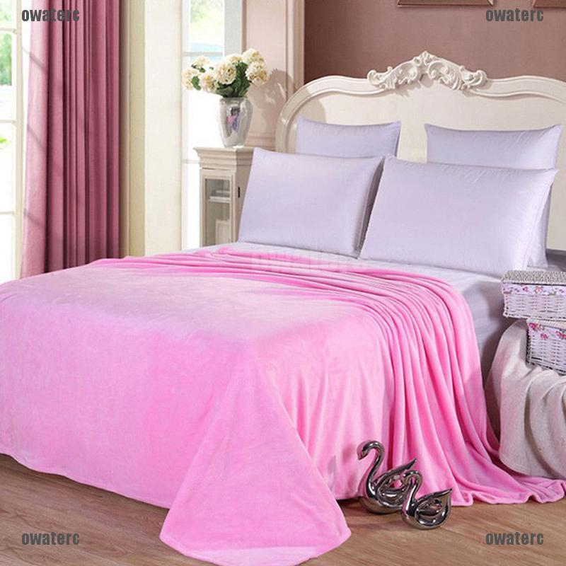 Sofa Bedding Quilt Gift Soft Solid Warm Plush Fleece Micro Blanket Throw Rug