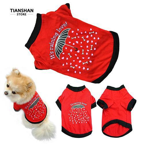 8edfefd5d8f9f 👍Pet Dog Cotton Small Costume Umbrella Pattern T-shirt