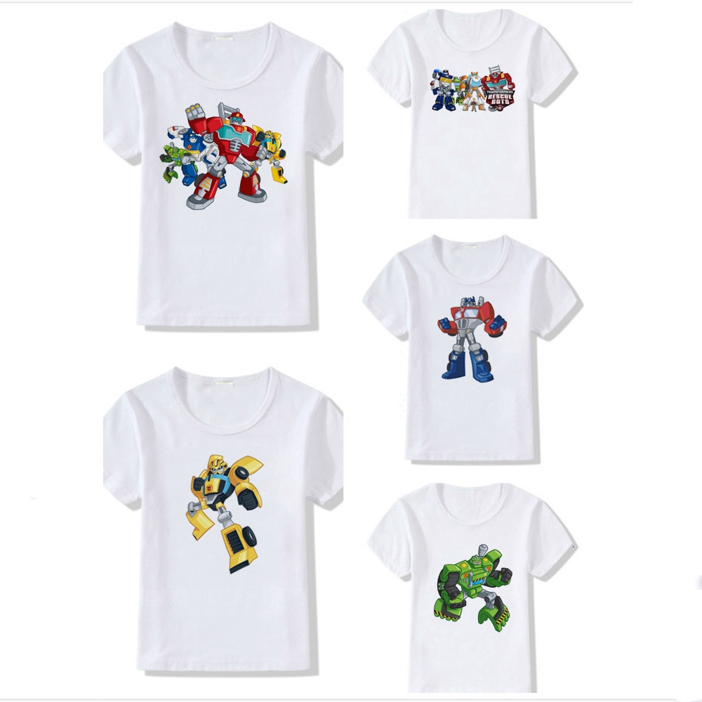 Transformers Cartoon Rescue Bots Short Sleeve T Shirt For Boy Cartoon Tshirt Kids Clothing Tee Shopee Philippines