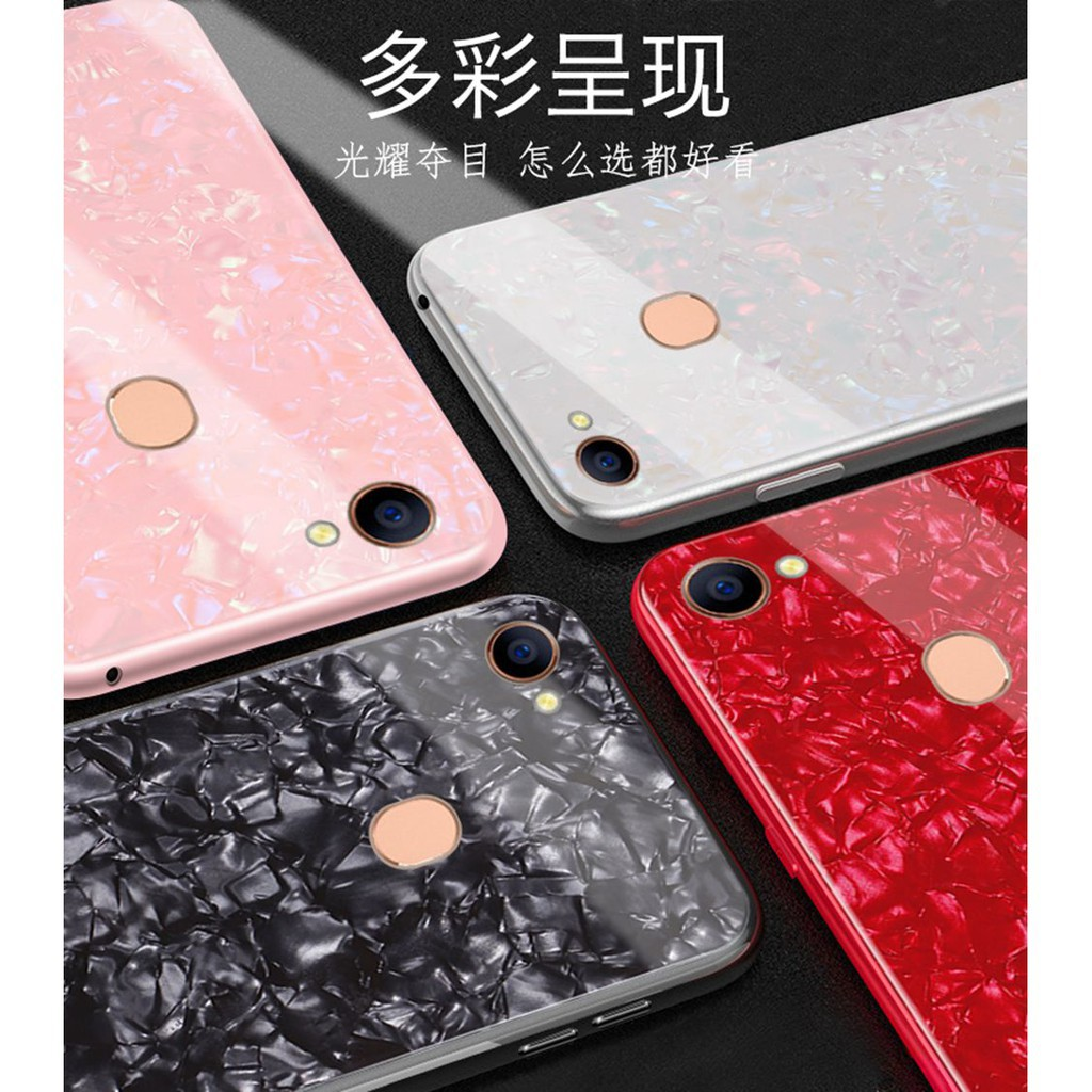 low priced 5ec99 208c2 OPPO F5 Casing Luxury Tempered Glass Case OppoF5 Back Cover Camera  Protection