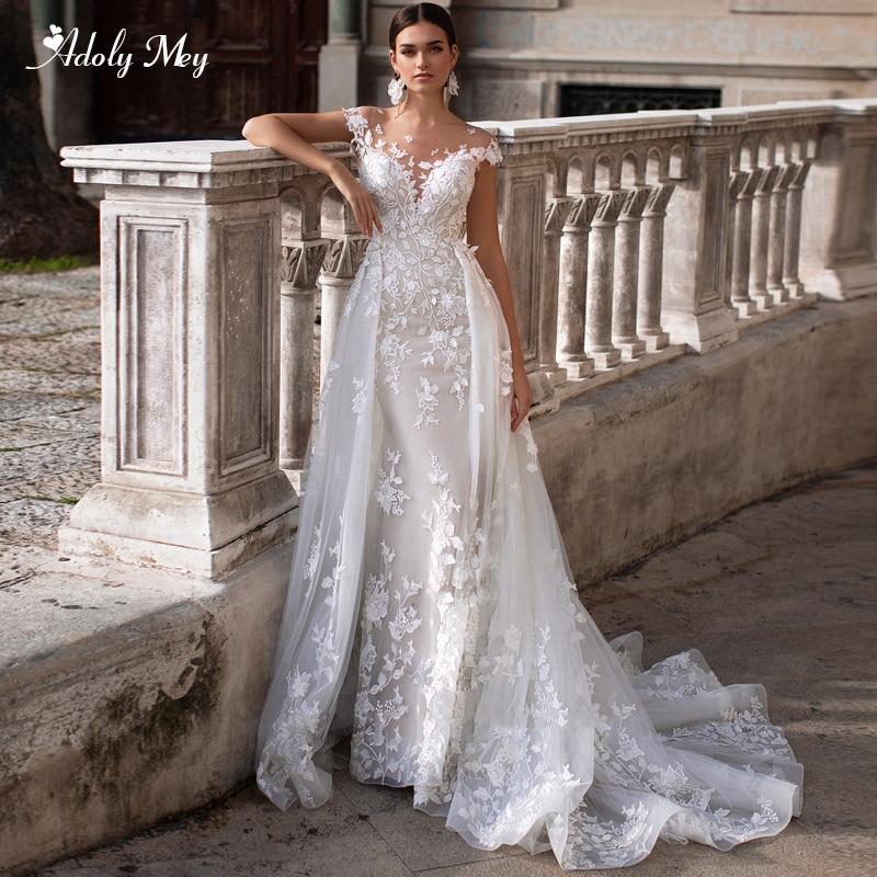 Adoly Mey Romantic Scoop Neck Cap Sleeve Mermaid Wedding Dresses 2020 Gorgeous Appliques Detachable Shopee Philippines,Summer Elegant Pakistani Wedding Guest Dresses
