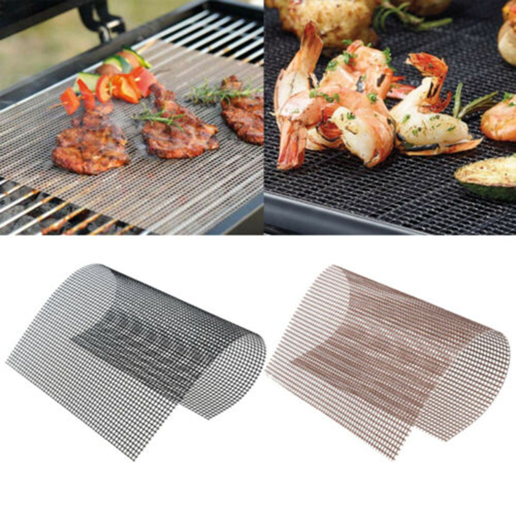 1pc BBQ Grill Mesh Mat Sheet Resistant Non-Stick Barbecue Bake Meat Wire Net