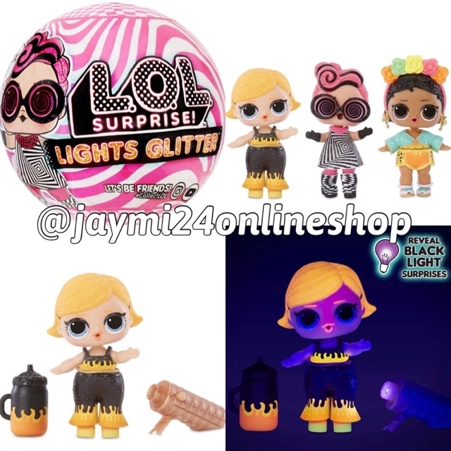 LOL Surprise Lights Glitter Doll ~8 Surprises /& Black Light Surprise~New In Hand