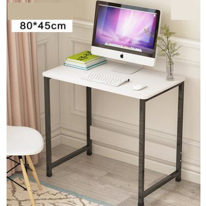 Ac 1 8045 W Office Table Computer Desk 80 45 73 5cm White White Mdf Desk Black Metal Legs Shopee Philippines