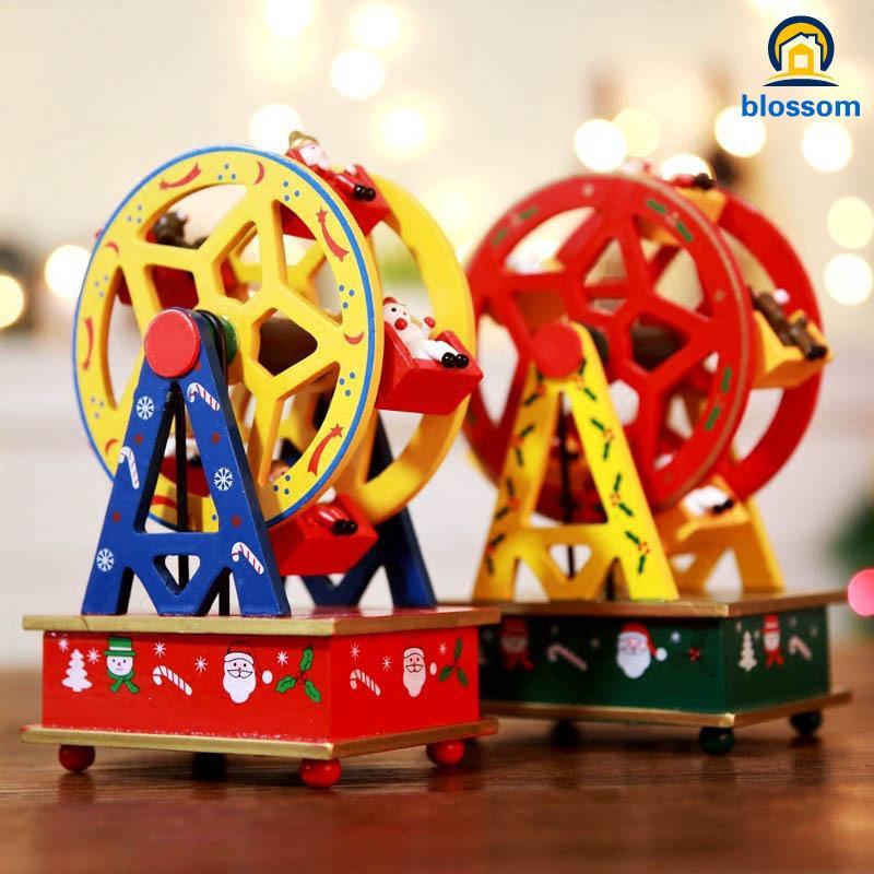 Christmas Ferris Wheel Music Box.Christmas Ferris Wheel Figurines Music Box Clockwork Wind Up