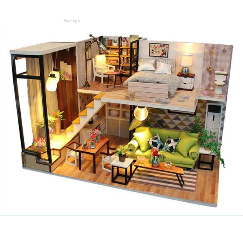 💗sunei💗diy wood cottage model kit miniature dollhouse toy with led lights