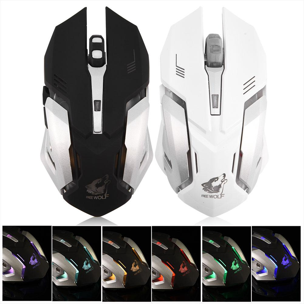 2 4G Optical Wireless Silent Gaming Mouse Adjustable Light