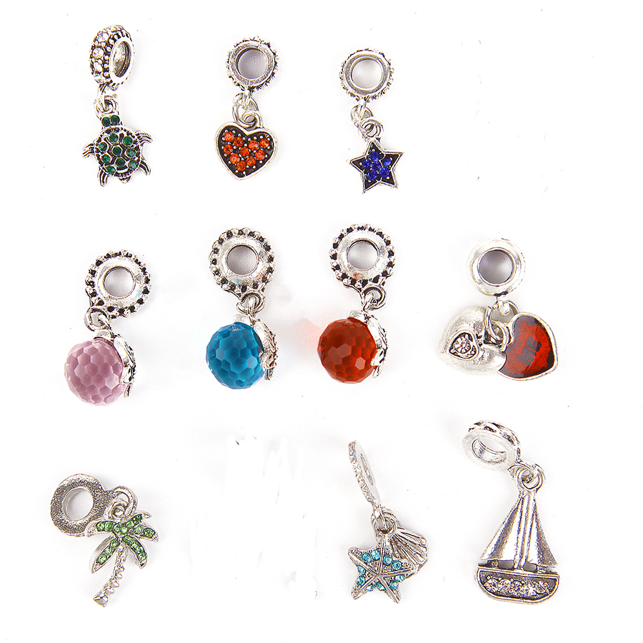 Wholesale Red Acrylic Pearl with Crystal Pendant Charms Earring Bracelet 10pcs