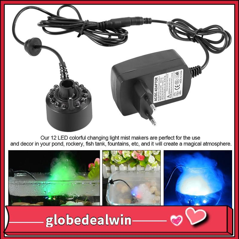 12Led Ultrasonic Mist Maker Light Fogger Water Fountain Pond WithPower Adapter*t