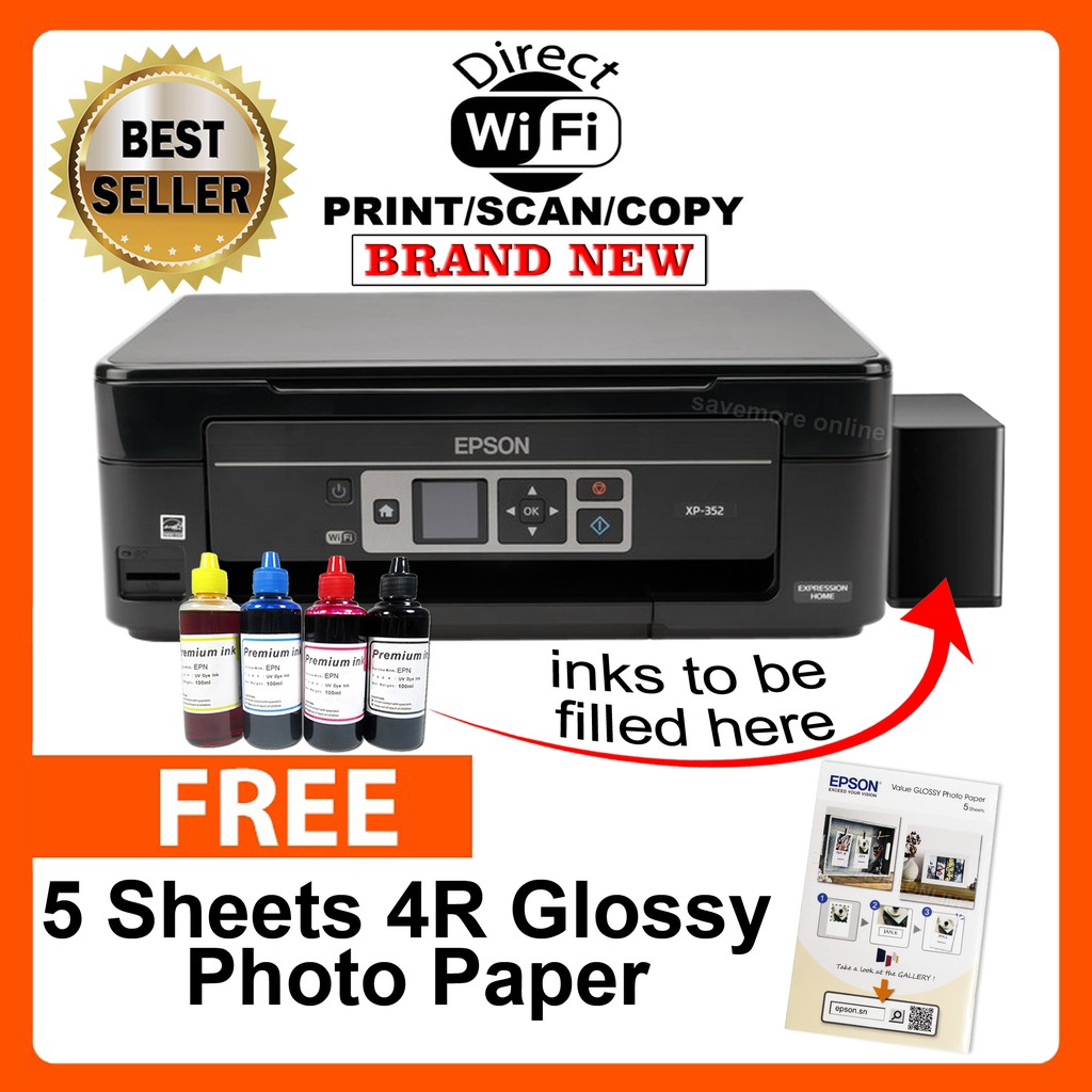 Epson XP-352 Wi-Fi & Wi-Fi Direct w/ CiSS & Dye inks