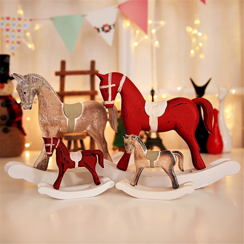 Christmas Wooden Rocking Horse Decor