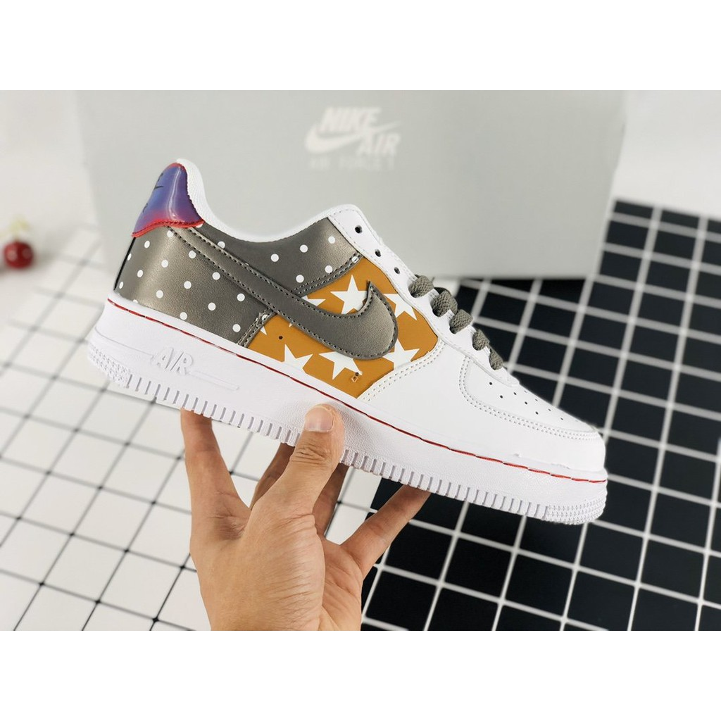 Gallo pasaporte ella es  COD! Nike Air Force 1 silver white brown stitching three-color spots casual  sports shoes CT3437-100 | Shopee Philippines