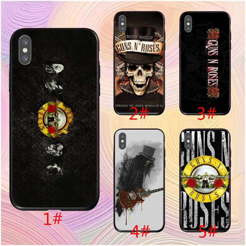 Guns N Roses Retro Slash Wooden For iPhone 5 6 6S 7 8 Plus XS Max XR Case Soft Cover