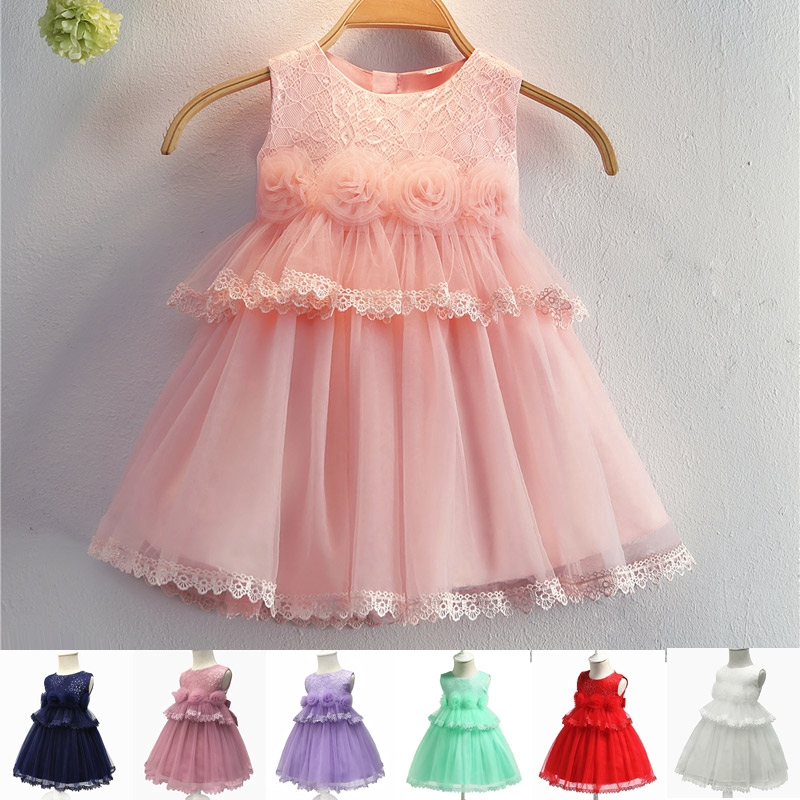 Infant Baby Girls Kids Flower Princess Party Dress Long Sleeve Clothes 3-24M