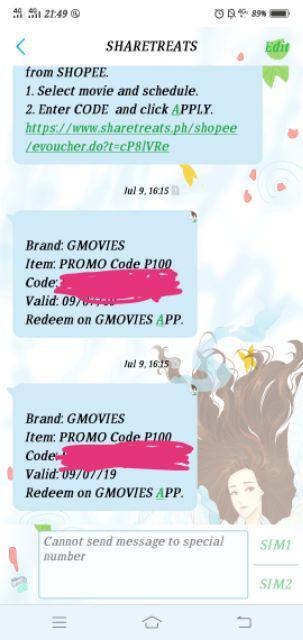 GMOVIES Promo Code P100 (SMS eVoucher)   Shopee Philippines