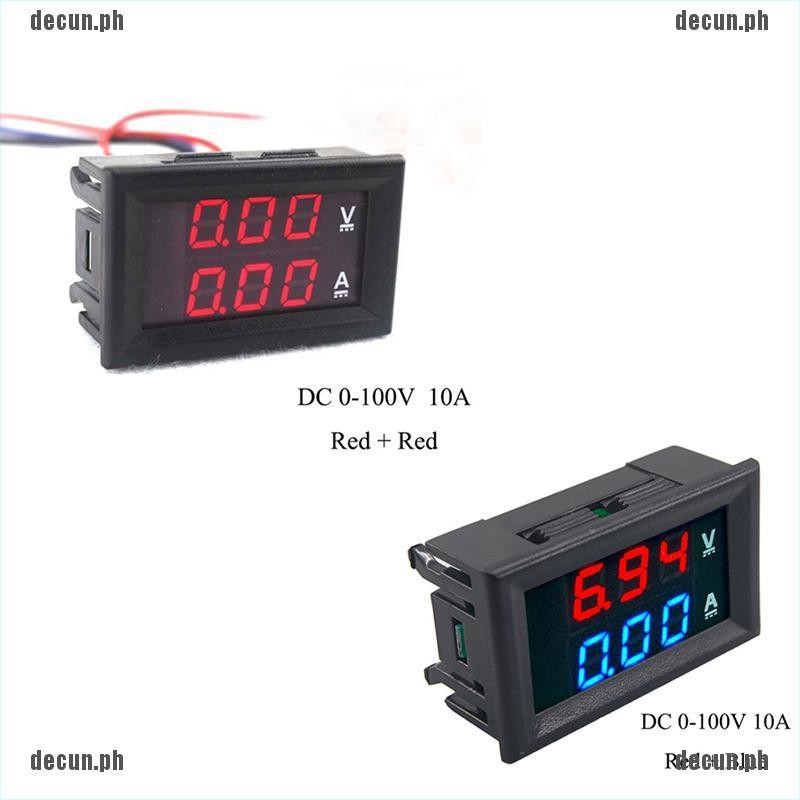 Decun Dc 0 100v 10a 3 4 Bit Voltmeter Ammeter Red Blue Led Amp Wires New Lj Shopee Philippines