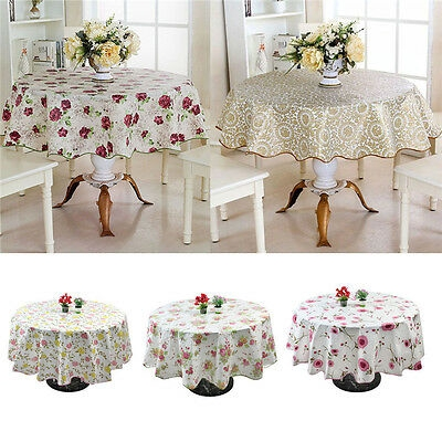 60 Round Table Cloth Pvc Plastic, Round Table Cover Plastic