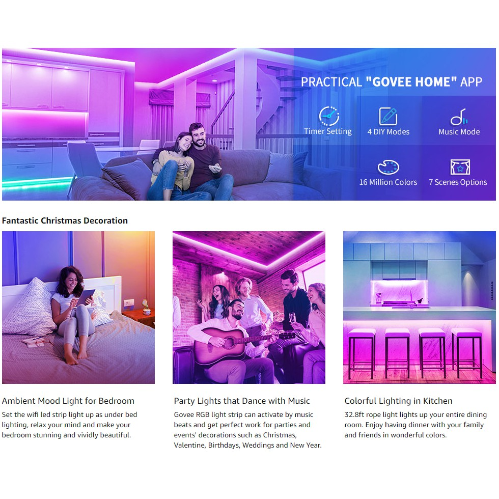 Govee 32 8ft 10 M Led Strip Lights Works With Alexa Google Home Wireless Smart App Control Rgb Light Strip Kit Music Sync For Room Tv Kitchen Home Party Bright 5050 Leds 16 Million