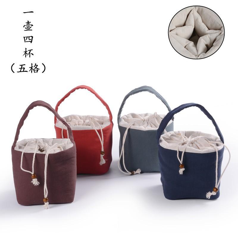 Travel Cotton-flax Tea Set Teaware Bag Portable a pot four cups Storage Bags