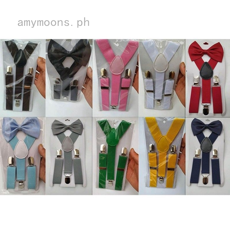 9066cb76f1d4e Baby Kids Adjustable Solid Suspender and Bow Tie Set Braces Elastic Y-back  New