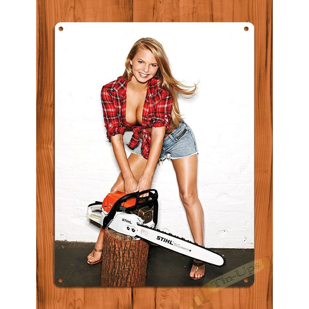 "TIN-UPS TIN SIGN /""Stihl Calender Girl/"" Vintage Rustic Wall Decor"