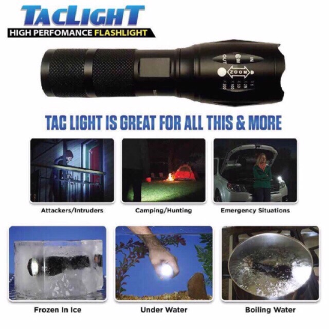WJF Taclight High Powered Tac Light Military Grade 5 Light Modes | Shopee  Philippines