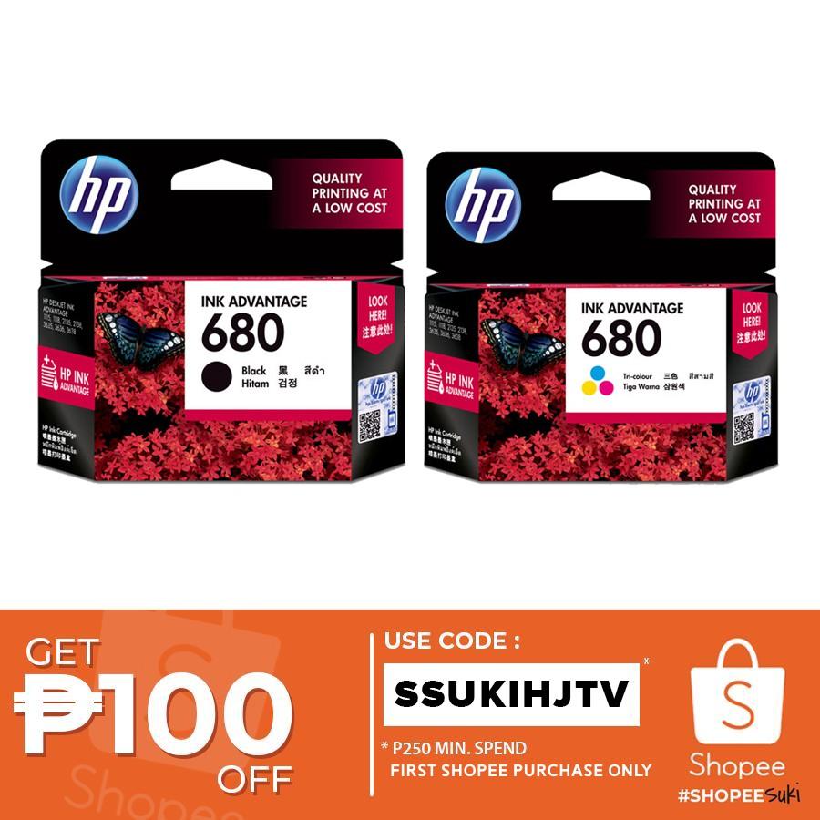 Hp 680 Ink Advantage Cartridge Shopee Philippines Tinta Black Original F6v26aa