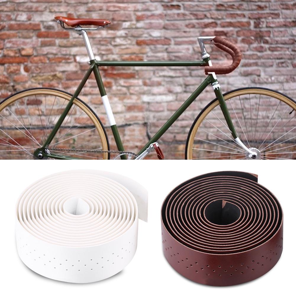 Bike Handlebar Tape Leather Handlebar Anti-slip Road Bike Grip Set 1 Pair