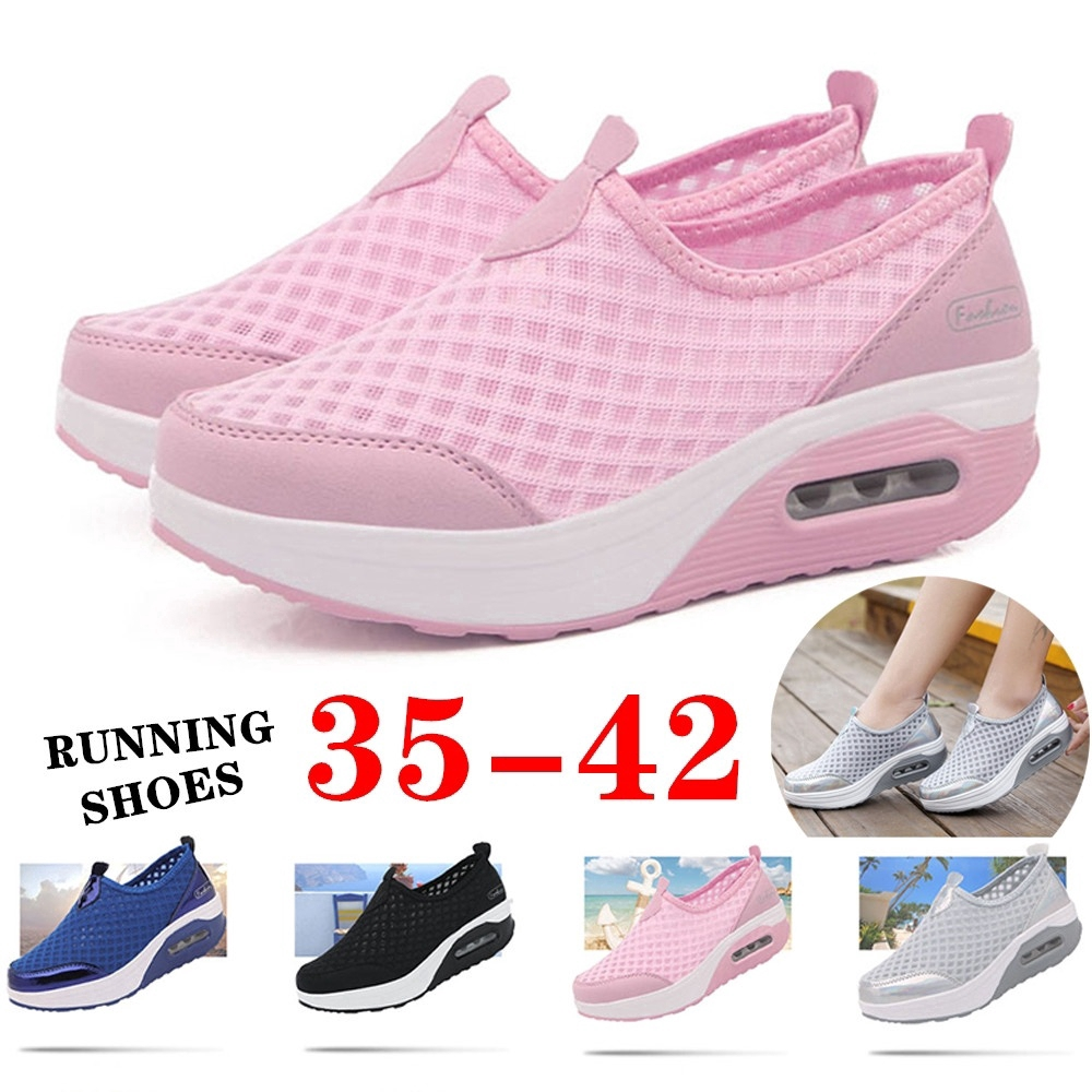 Femmes Casual Sneakers Fashion Solid Color Weaving Mesh Slip on Low Top Air Cushion Chaussures de Course Summer Big Size 41 Ladies Sports Sandals
