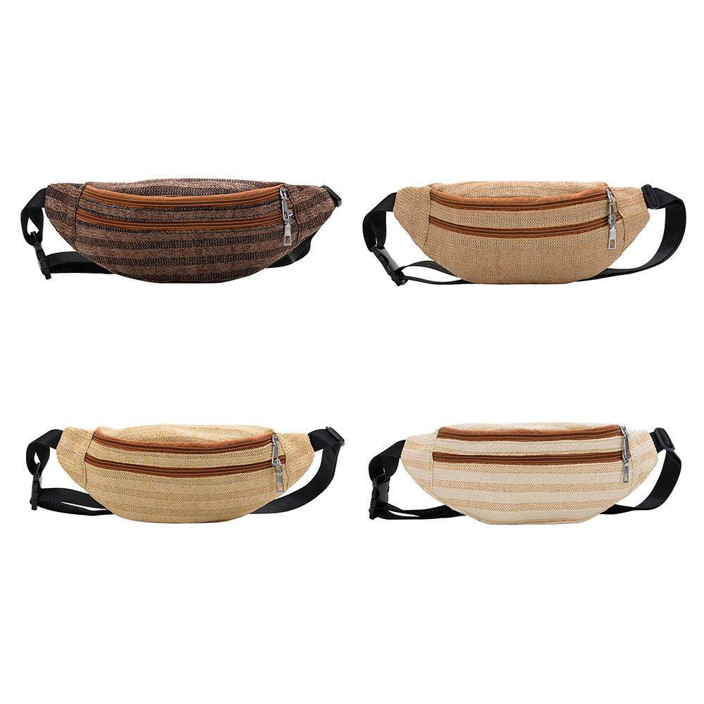 Solid Color Woven Shoulder Waist Bags Fanny Packs Women Messenger Chest Bag For Women Straw