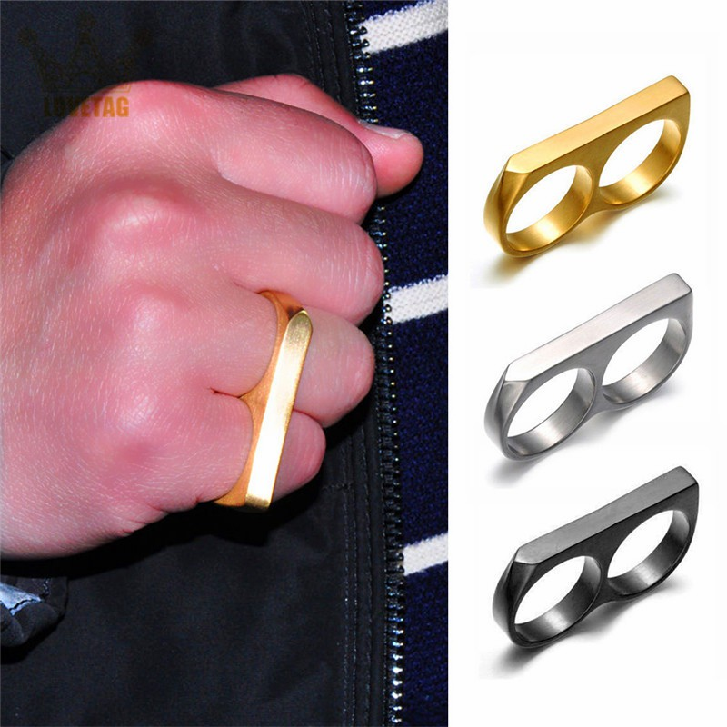 Punk Style Exaggerated Two-finger Ring Hip Hop Style Women Men Stainless Steel