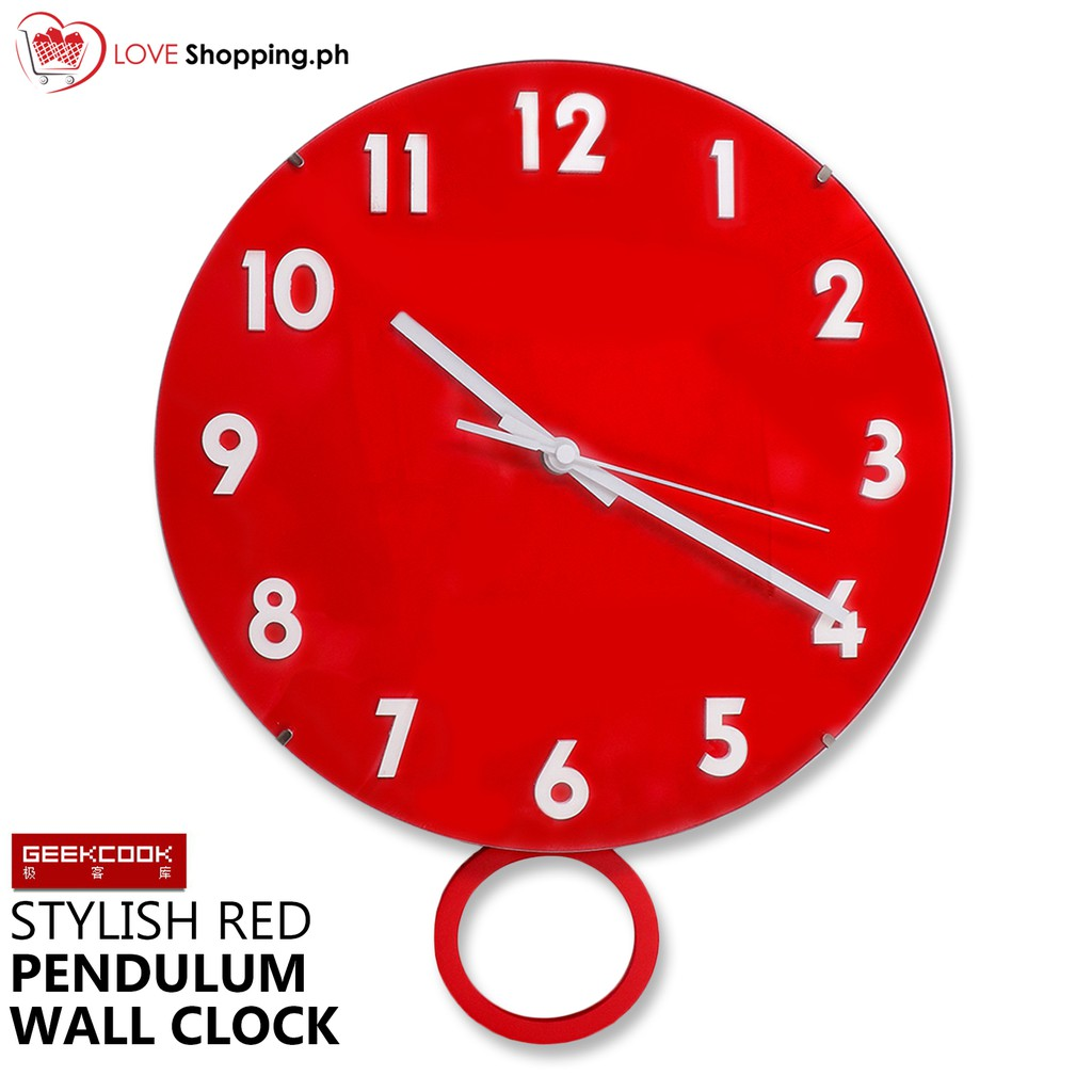 GEEK COOK Stylish Red Pendulum Wall Clock