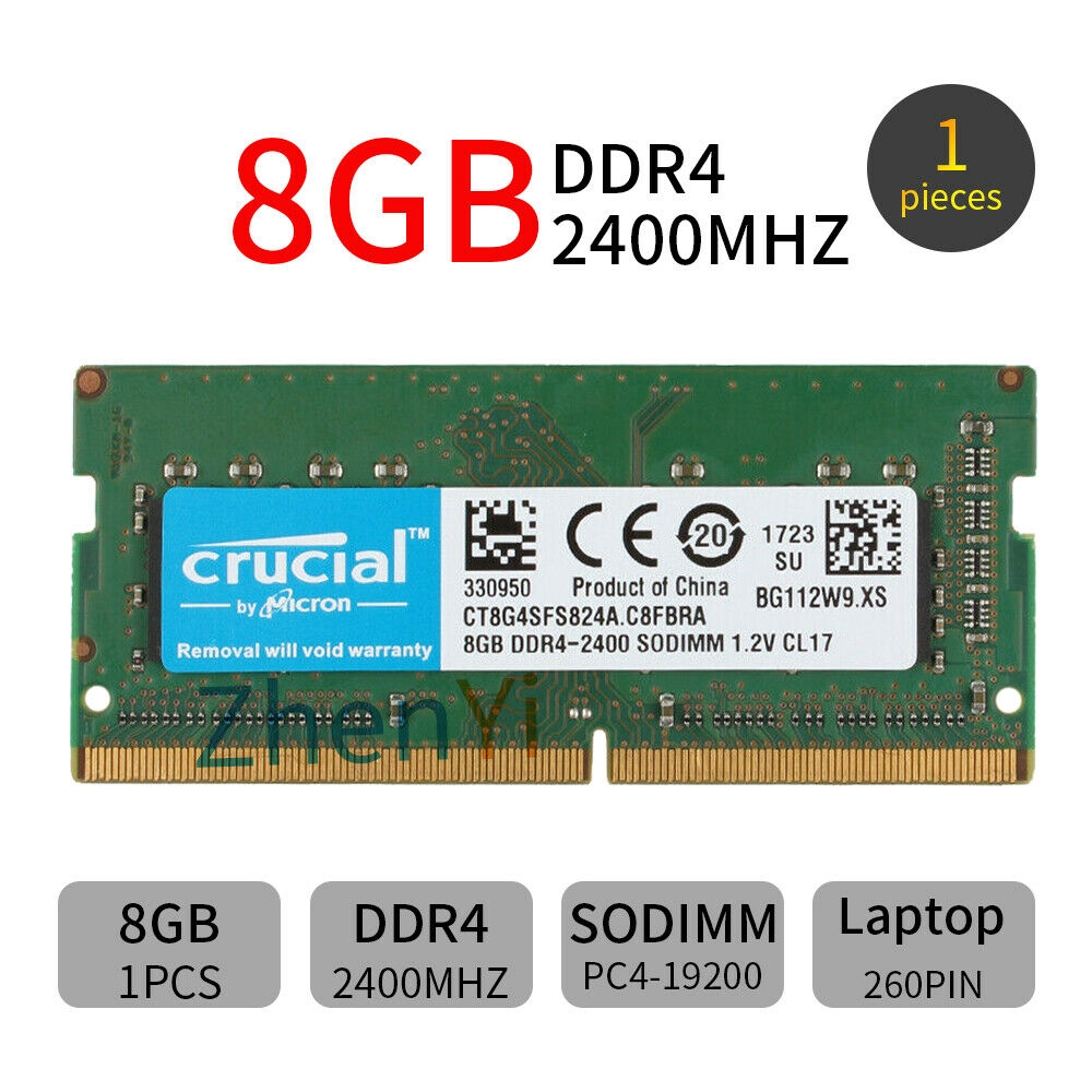 New Crucial 8GB CT8G4SFS824A PC4-19200 DDR4-2400MHz 260pin SoDimm Laptop Memory