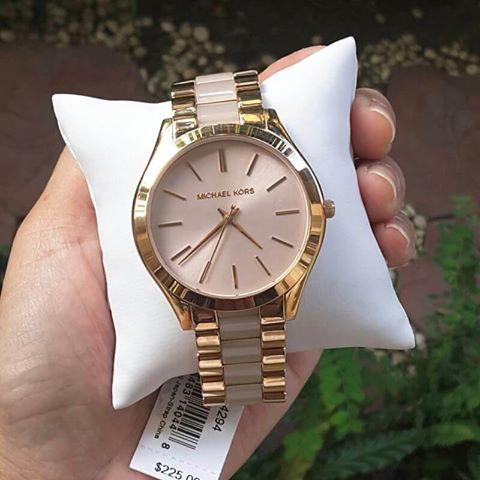 47240b7dcbc6 Michael Kors Women s MK4294 Slim Runway Rose Gold-Tone watch ...