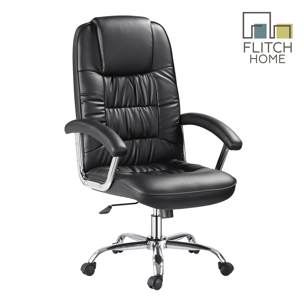 New Arrival Flitch Home Fh 680 Faux Leather High Back Executive Office Chair Black Shopee Philippines