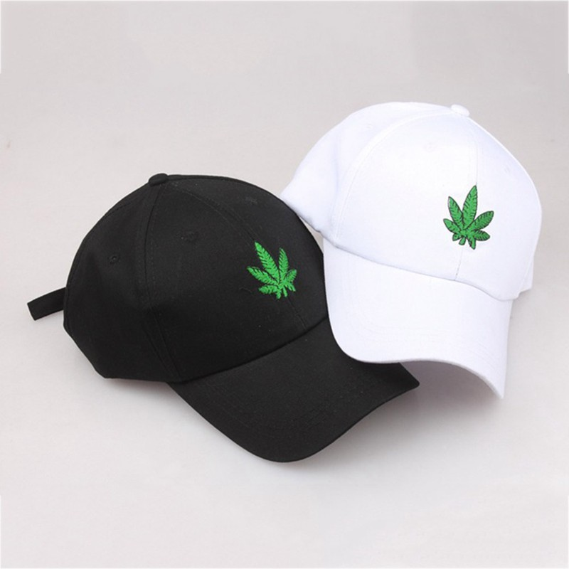 2959555721d2a 2018 New Fashion Embroidery Maple Leaf White Cap Weed Snapback Hats For Men