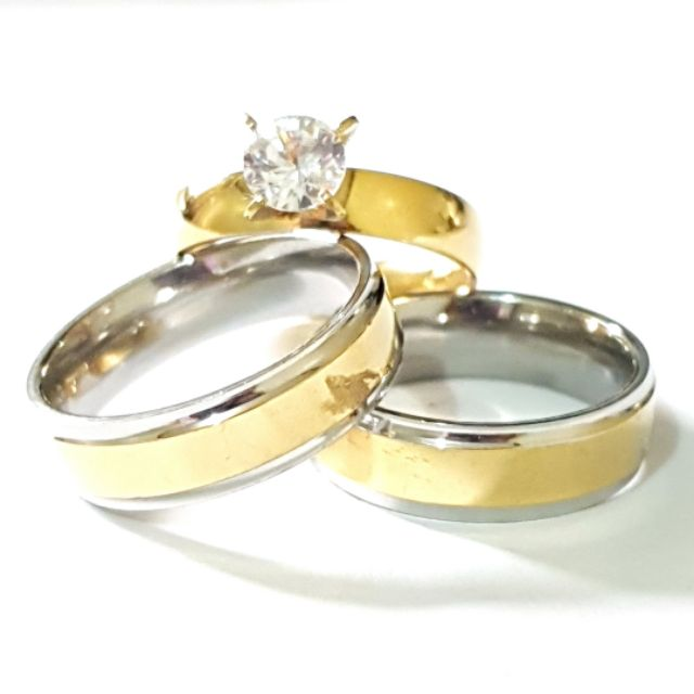 3 In 1 Two Tone Gold Wedding Engagement Couple Ring Set Shopee Philippines