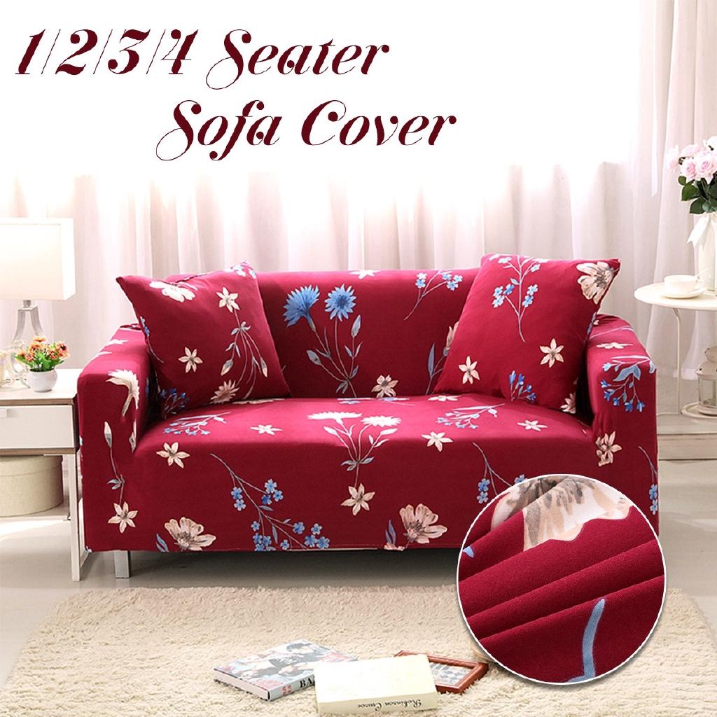 Red Kimono 1/2/3/4 Seater Home Soft Elastic Sofa Cover Easy