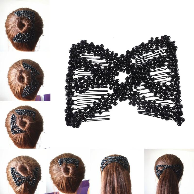 Women Magic Double Hair Comb Imitation Wood Pearl Clip DIY Stretchy Hairpin Bead