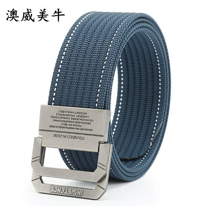 Nylon canvas belt mens double ring buckle belt youth tide canvas belt