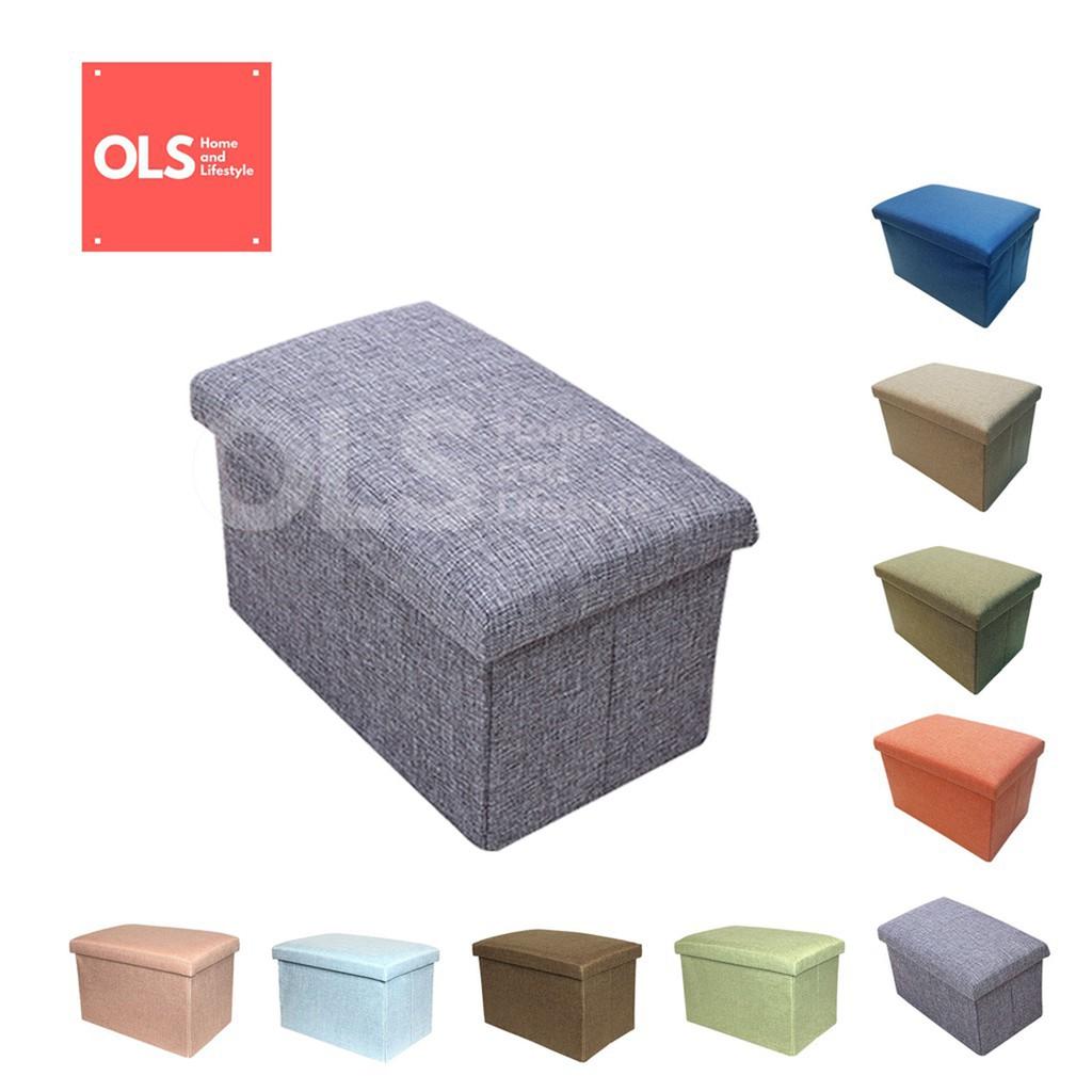 Ols Storage Box Ottoman Foldable Chair Storage Stool 49x30x30 Footrest Seat Versatile Space Saving Shopee Philippines