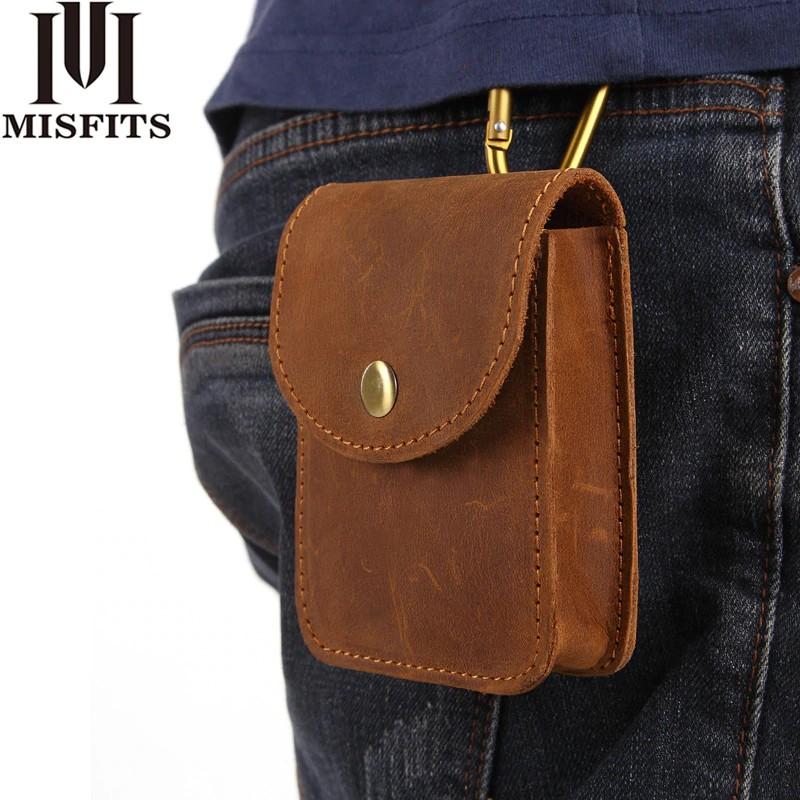 6dcc84ed063 MISFITS Genuine Leather Waist Packs Men Cigarette Pouch Mini