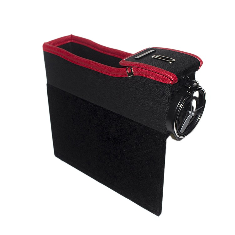 Leather Car Seat Storage Box Catcher Gap Coin Candy Collector Cup Holder Bag