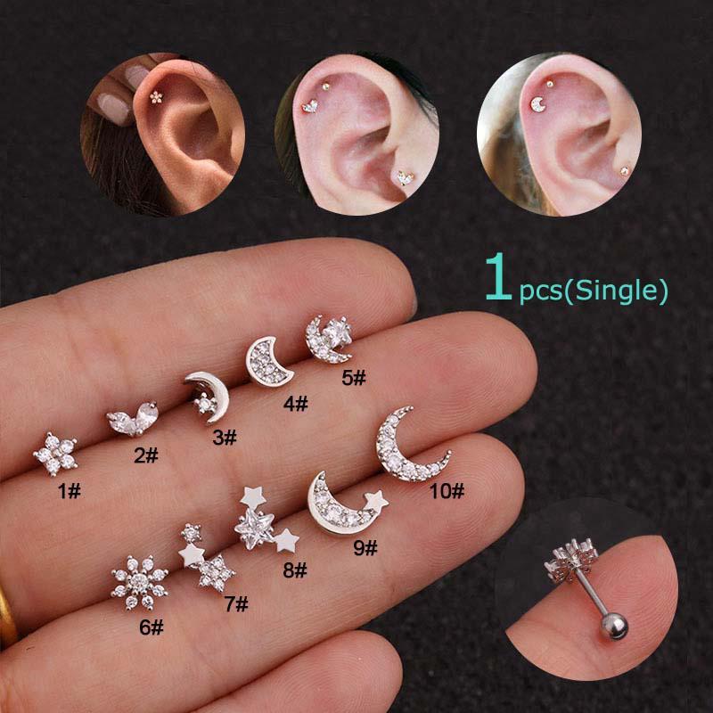 df4446b9b5475 1pcs Ear Tragus Cartilage Helix Daith Piercing 20G 6mm Length ...