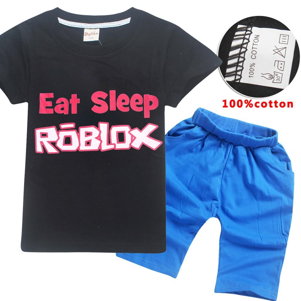 46ec592b Summer Boy Cotton T-shirt Eat Sleep Roblox Print Casual Set | Shopee  Philippines