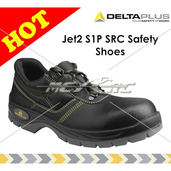 Delta Plus Jet 2 S1P Black Leather Mens Steel Toe Cap Safety Shoes Work Shoes