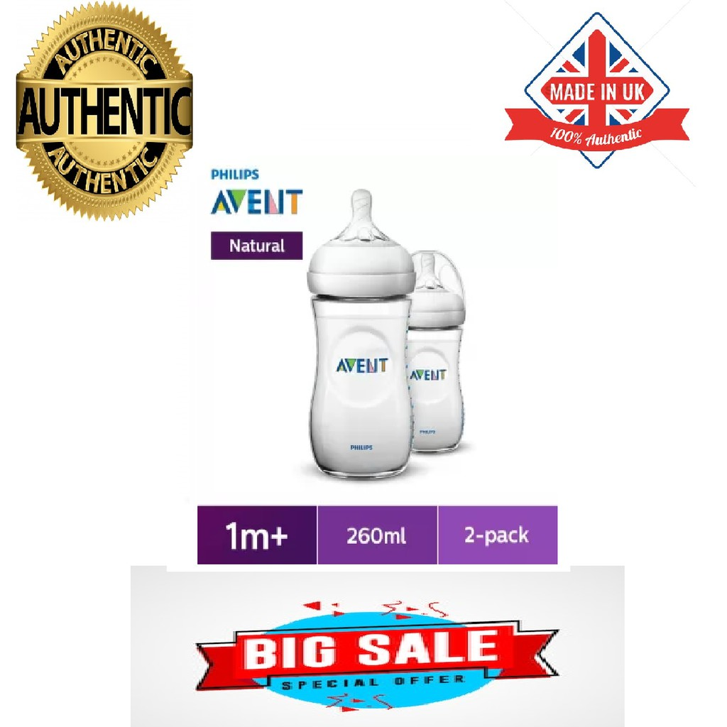 SCF033//37 Philips Avent Natural Wide Neck Milk Feeding 3 Bottles Gift Set